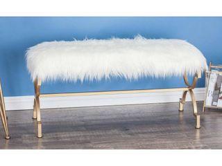 Modern 20 x 42 Inch Polished White Faux Fur Bench by Studio 350  Retail 174 62