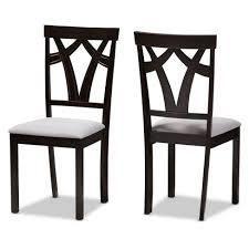 baxton studio chairs set of 2 dark brown