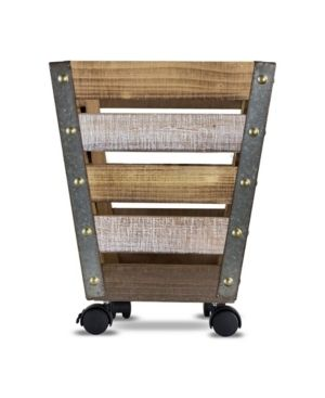American Art Decor Small Storage Crate with Wheels