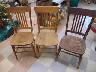 3 Oak Chairs   1 needs repair