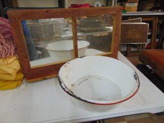 Porcelain Pan and Folk art Mirror