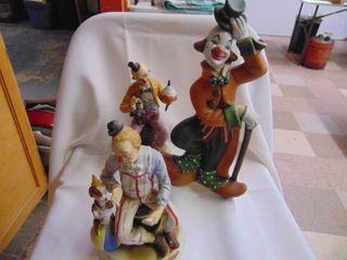 3 Clown Figurines