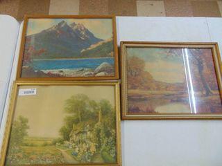3 vintage decor prints