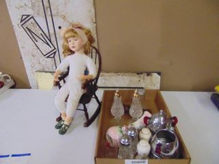 Doll and Assorted Salt and Pepper Shakers