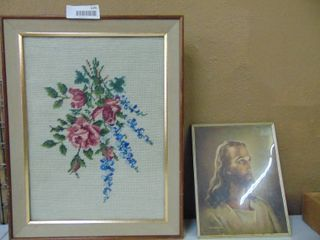 2 Framed Embroidered Flowers and Picture of Jesus