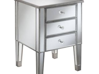 Convenience Concepts Gold Coast 3 Drawer Mirrored End Table mirror   Antique Sil