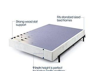 zinus 9 inch high profile metal smart box spring   mattress foundation   wood slat support   easy assembly  queen