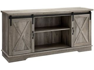 58 inch Sliding Barn Door TV Stand Media Console in Reclaimed Barnwood DAMAGE ON SEVERAl INSPECTED PIECES
