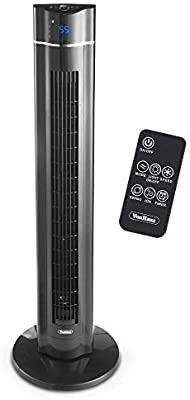VonHaus 43  Quiet Oscillating Tower Fan with Remote Control  lED Display  3 Speed and Fan Settings  Aroma Tray and 1 8 Hour Timer