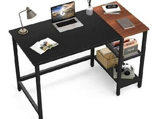 CubiCubi Computer Home Office Desk  47 Inch Small Desk Study Writing Table with Storage Shelves  Modern Simple PC Desk with Splice Board  Rustic Brown and Black