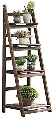 RHF 44   Folding Plant Shelf  Indoor Pot Holder  Planter ladder  Folding Shelf with Frame  Rustic Wooden Patio Stand with Shelves  4 Tier Outdoor Stand  Pot Shelf  Free Standing  DAMAGED