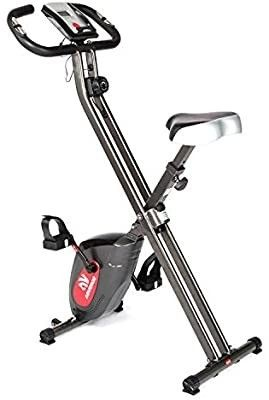 ADVENOR Exercise Bike Magnetic Bike Folding Fitness Bike Cycle Workout Home Gym With lCD Monitor Durable Upright Extra large Seat Cushion  black red