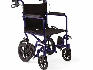 Medline Transport Wheelchair with Brakes  Blue