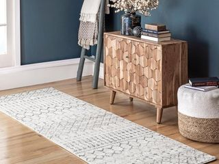 nulOOM Moroccan Blythe Runner Rug  2  8  x 8  Grey Off white