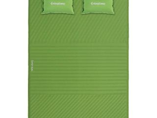 KingCamp Double Self Inflating Camping Sleeping Pad Mat with 2 Pillows  Green