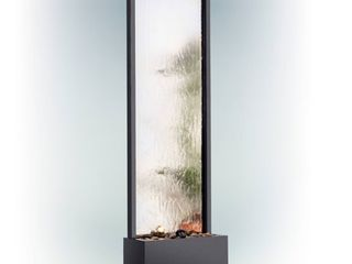 Alpine Corporation MlT102 Mirror Waterfall Fountain with Stones and light  72 Inch Tall  Silver
