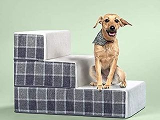 Zinus Cozy Pet Stairs pet Ramp pet ladder grey Checked large
