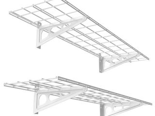 FlEXIMOUNTS 12 in  x 48 in  2 Pack White Steel Garage Wall Shelves with Brackets