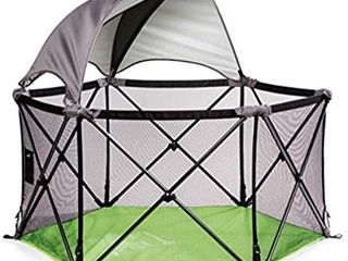 Summer Infant Portable Playground for Kids  Open and Play  Canopy Playpen  Green