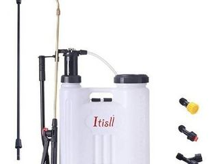 ITISll 4 Gallon Backpack Sprayer  leak Free Pump Sprayer with Telescopic Brass Wand  Durable Polyethylene Wand and 4 Nozzles for Garden and lawn 15liter