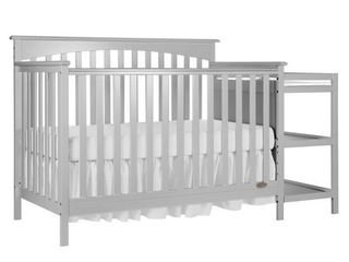 Dream On Me Chloe 5 in 1 Convertible Crib and Changer  Gray DAMAGED  MAY BE INCOMPlETE