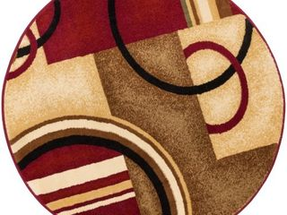 Well Woven Barclay Arcs   Shapes Modern Abstract Geometric Red 3 11  Round Area Rug