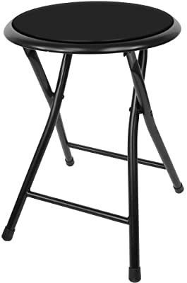 Trademark Home Folding Stool Aaa Heavy Duty 18 Inch Collapsible Padded Round Stool with 300 Pound Capacity for Dorm  Rec Room or Gameroom  Black