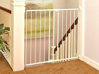Toddleroo by North States 47 85  wide Tall Easy Swing   lock Gate  Ideal for standard stairways  Hardware mount  Fits openings 28 68    47 85  wide  36  Tall  Warm White    Not Inspected