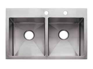 Franke USA HF3322 2 9  Deep Stainless Steel Double Bowl Dual Mount Kitchen Sink  18 g CORNERS BENT