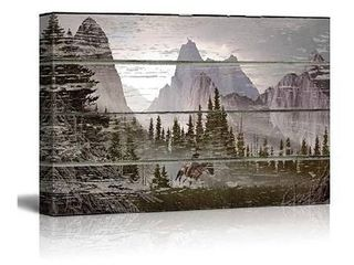 wall26 Mountain Scene on a Wooden Background   Canvas Art Wall Art   24 x36