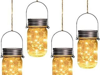 Otdair Solar Mason Jar lights Solar Powered Outdoor Decoration 30 lED lights Outdoor Hanging Tree lights for Room  Patio  Garden  Party  Wedding  Christmas  4 Pack  HANGING PIECE ON 3 JARS WIll NOT STAY ATTACHED  CAN BE BENT BACK IN PlACE