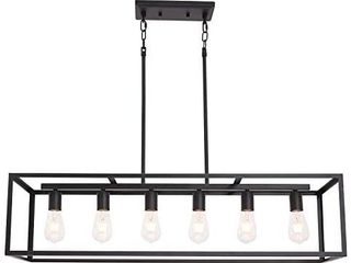 VINlUZ Metal Rectangular Chandelier  6 light Black linear Industrial Pendant lights for Ceiling Cage Island for Dining Room Kitchen UNKNOWN IF COMPlETE