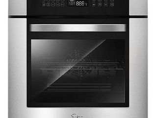 Empava 24  10 Cooking Functions W  Rotisserie Electric lED Digital Display Touch Control Built in Convection Single Wall Oven EMPV 24WOC02