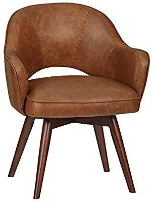 Amazon Brand   Mid Century Rivet leather Swivel Chair  23 6  W  Brown DAMAGED