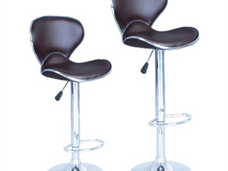 Bar Stools Set of 2 Modern Adjustable Synthetic leather Swivel Chairs