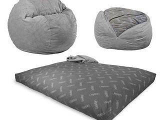 CordaRoy s Chenille Bean Bag Chair  Convertible Chair Folds from Bean Bag to Bed  As Seen on Shark Tank  Charcoal   full size