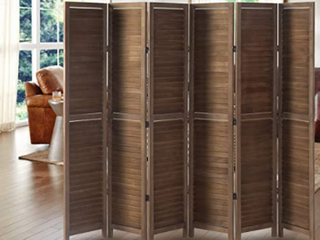 Panel Wood Room Divider Privacy Wall Divider Brown   Not Inspected