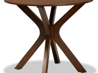 35 Inch Kenji Wide Round Wood Dining Table Walnut   Baxton Studio