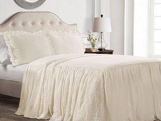 Queen 3pc Ruffle Queen Bedspread Set Ivory   lush Decor