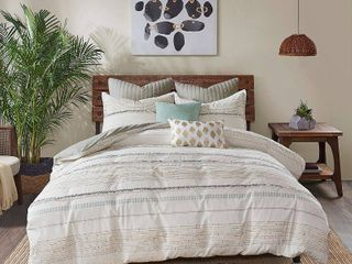 INK IVY Nea Ivory Grey Cotton Printed King Cal King Duvet Cover Set with Trims  Retail 103 38