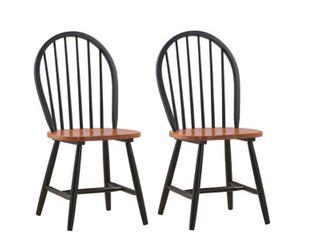 Set of 2  Windsor Dining Chair Wood Black Cherry   Boraam