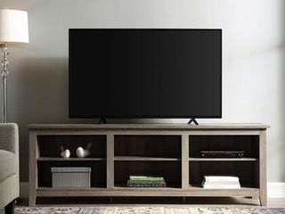 70 inch Wood Media TV Stand Storage Console in Grey Wash