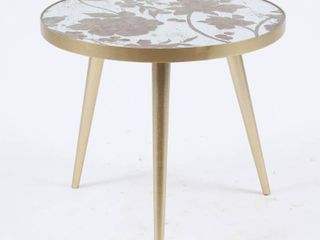 Metal and Mirror Flower Accent Table