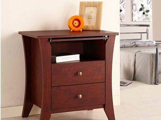 Furniture of America Erneste Vintage Walnut Modern 2 Drawer Nightstand