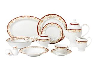 lorren Home Trends Mabel Bone China 57 Piece Dinnerware Set  Service for 8  Retail   400 00