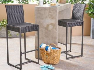 Conway Outdoor Wicker Barstool  Set of 2  by Christopher Knight Home  Retail 343 99