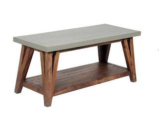 Brookside Entryway Bench Concrete Coated Top and Wood light Gray Brown   Alaterre Furniture