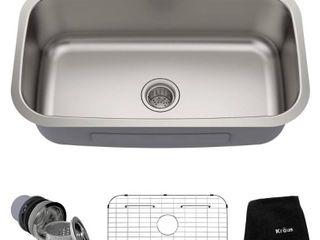Kraus 31 1 2 inch Undermount Single Bowl 16 gauge Stainless Steel Kitchen Sink