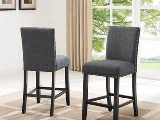 Roundhill Furniture Biony Fabric Nailhead Counter Height Stools  Set of 2  Tan
