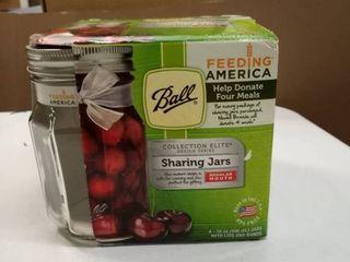 Ball Elite Sharing Jars with lids   Bands  Regular Mouth  16 oz  4 Pack